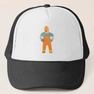 Happy Builder On Construction Site. Graphic Design Trucker Hat