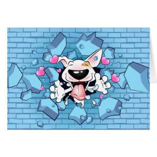Happy Bull Terrier Cartoon Greeting Card (for him)