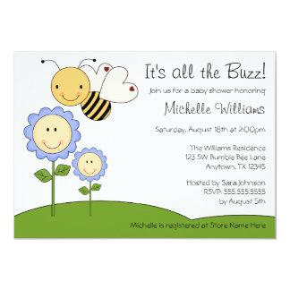 "Happy Bumble Bee Blue Daisy Baby Shower 5"" X 7"" Invitation Card"