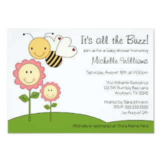 """Happy Bumble Bee Pink Daisy Baby Shower 5"""" X 7"""" Invitation Card"""