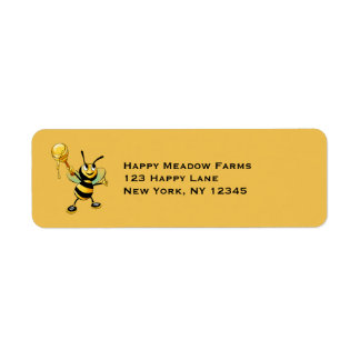 Happy Bumble Bee with a Scoop of Honey Return Address Label