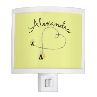 Happy Bumble Bees Flying Heart Personalized Night Lite