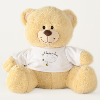 Happy Bumble Bees Flying Heart Personalized Teddy Bear