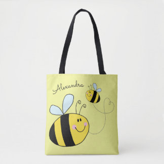 Happy Bumble Bees Flying Heart Personalized Tote Bag