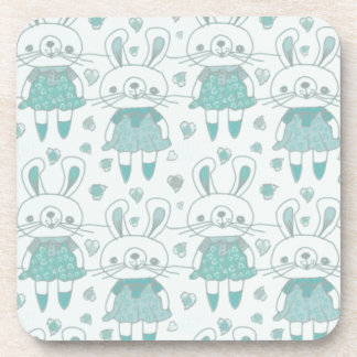 Happy Bunnies in Blue Coaster