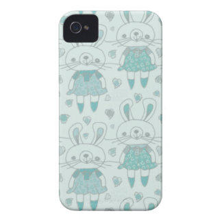 Happy Bunnies in Blue iPhone 4 Case-Mate Case