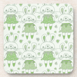 Happy Bunnies in Green Coaster