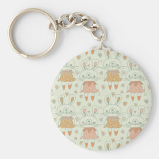 Happy Bunnies in Orange Basic Round Button Keychain