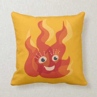 Happy Burning Fire Flame Character Throw Pillow