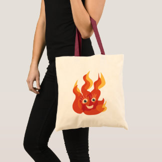 Happy Burning Fire Flame Character Tote Bag