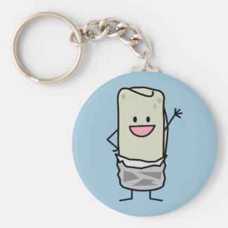 Happy Burrito Waving Hello Basic Round Button Keychain
