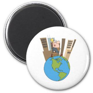 Happy Business Woman Walking Around Globe 2 Inch Round Magnet