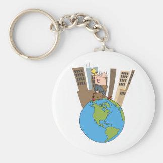Happy Business Woman Walking Around Globe Basic Round Button Keychain