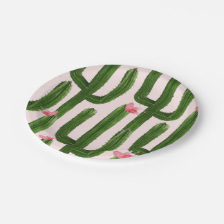 Happy Cacti paper plate 7""