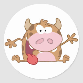 Happy Calf Cartoon Character Waving A Greeting Classic Round Sticker