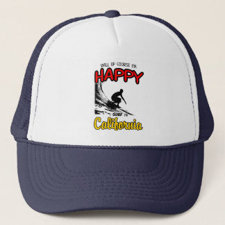 HAPPY CALIFORNIA SURFER 2 Black Trucker Hat