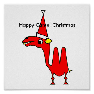 Happy Camel Christmas Poster