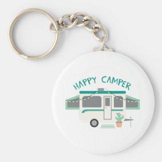 Happy Camper Basic Round Button Keychain