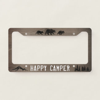 Happy Camper - Bear Silhouettes - Custom Text License Plate Frame