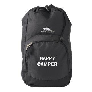HAPPY CAMPER black hiking backpack for roadtrips