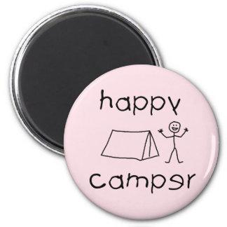 Happy Camper (blk) 2 Inch Round Magnet