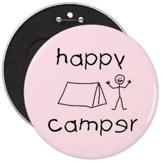 Happy Camper (blk) 6 Inch Round Button