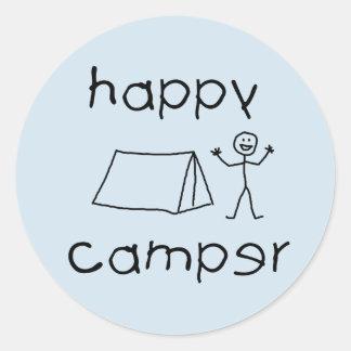 Happy Camper (blk) Classic Round Sticker