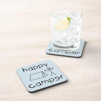 Happy Camper (blk) Coaster