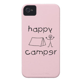 Happy Camper (blk) iPhone 4 Covers