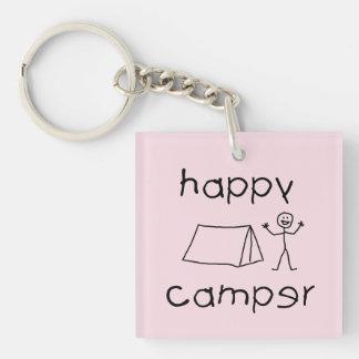 Happy Camper (blk) Keychain