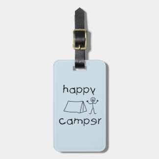 Happy Camper (blk) Luggage Tag