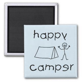 Happy Camper (blk) Square Magnet