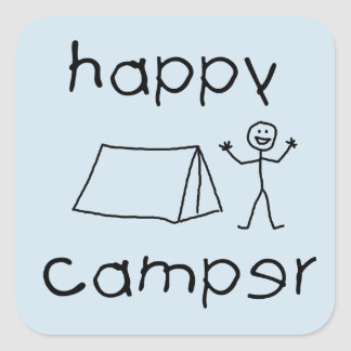 Happy Camper (blk) Square Sticker