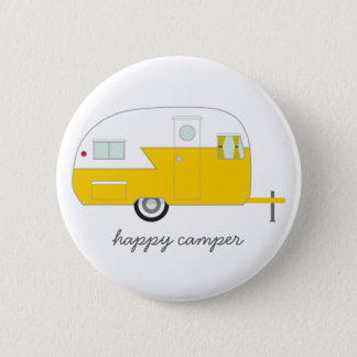 Happy Camper Button yellow