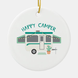 Happy Camper Ceramic Ornament