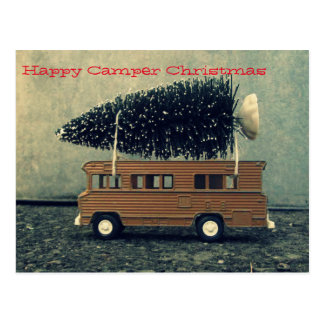 Happy Camper Christmas Tree Postcard