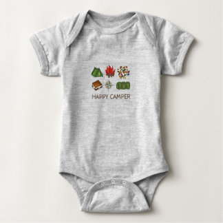 HAPPY CAMPER Fun Camping Summer Camp Outdoors Baby Bodysuit