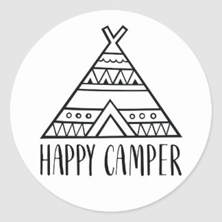 Happy Camper Funny Quote Typography Classic Round Sticker