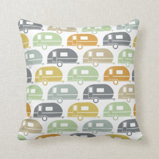Happy Camper | Modern Camper Decor Muted Earthtone Throw Pillow