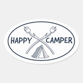 Happy Camper - Monochrome Oval Sticker
