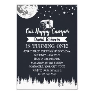 Happy Camper Moon Stars Forest Birthday Card