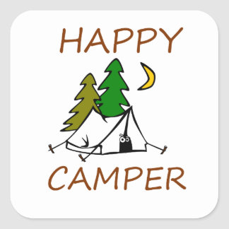 Happy Camper Outdoors Square Sticker