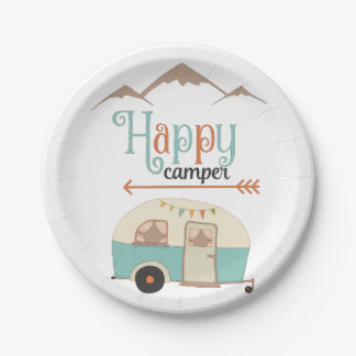 HAPPY CAMPER PAPER PLATE