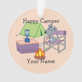 Happy Camper Personalized Cartoon Mouse Ornament