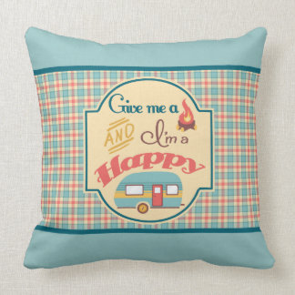 Happy Camper Personalized Pillow (Aqua & Coral)