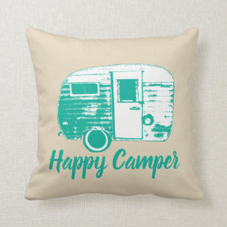 Happy Camper Retro Camping Trailer Camping Fun Throw Pillow