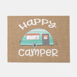 Happy Camper Retro Trailer RV Caravan Burlap Doormat