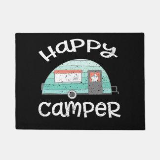 Happy Camper Retro Trailer RV Caravan Camping Doormat