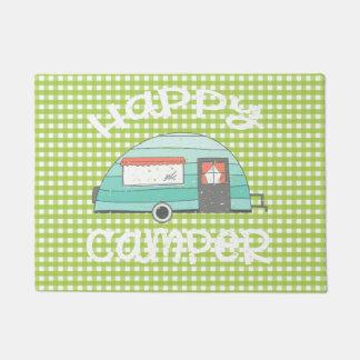 Happy Camper Retro Trailer RV Caravan Check Doormat