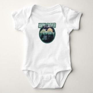happy camper round camping distressed design baby bodysuit